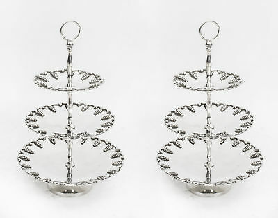 Vintage Pair Silver Plated Tiered Cake Biscuit Stands