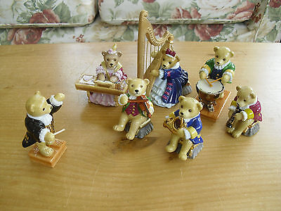 Complete Set of 7 Halcyon Days Teddy Bear Orchestra Figures