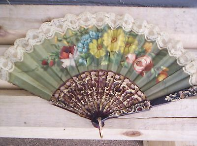 Antique Hand Fan Floral Hand Painted  Beautiful Signed Vivanco