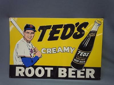 "Vintage Ted's Creamy Root Beer Sign 15"" X 10"" Great Shape Advertising Metal"