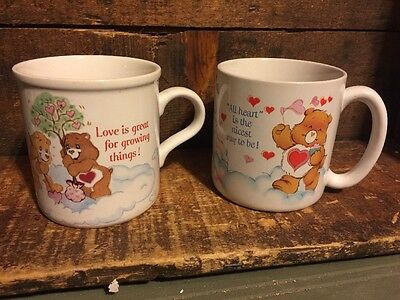 Lot 2 Vintage Care Bear Mug 1984 1985 American Greetings