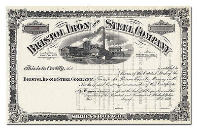 Bristol Iron and Steel Company Stock Certificate (1890's)