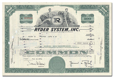 Ryder System, Inc. Stock Certificate