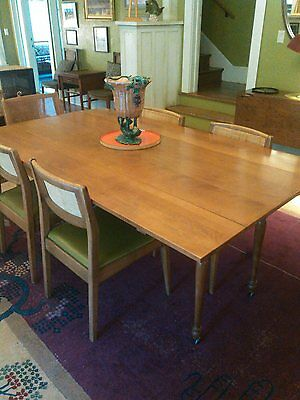 Solid Cherry Harvest Table/ 6 Mid Century Chairs