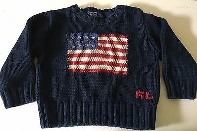 POLO Ralph Lauren Sweater American Flag USA Navy Sz L / XL Baby Boy Independence