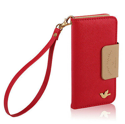 PU leather phone case cover wallet card holder pouch flip for iPhone 5/5s red