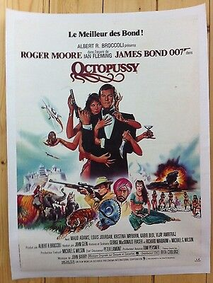 Linen Backed Vintage Original James Bond Octopussy French Movie Poster Affiche