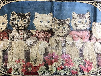 """Vintage 6 Kittens Cats Tapestry Velvety Lost Their Mittens 37 1/2"""" x 20"""""""