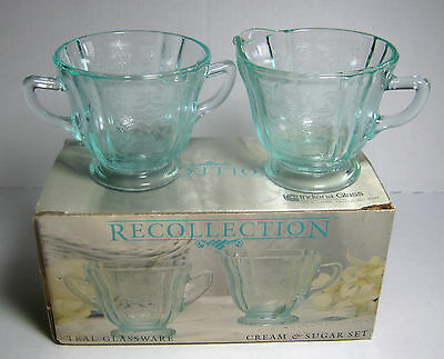 Cream & Sugar Recollection Indiana Glass Aqua New in Box Madrid 1970's