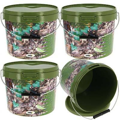 4 X Round 2.5L Camo Bait Buckets For Boilies Pellets Carp Ngt Fishing Tackle
