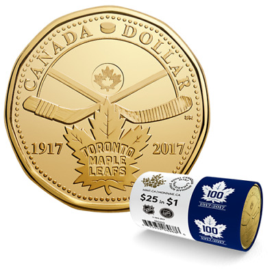 2017 100TH ANNIVERSARY OF THE TORONTO MAPLE LEAFS - $1 Special Wrap Loonie Roll