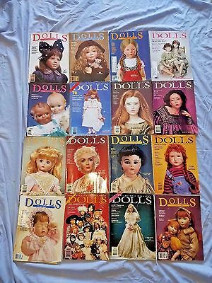 Vintage 1990's DOLLS Collector Doll LOT of 16 Magazines