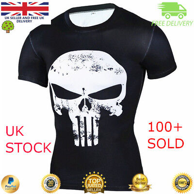 Mens compression top gym superhero crossfit marvel muscle Punisher high quality