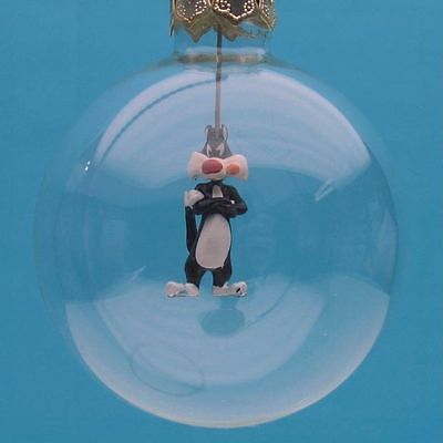 SYLVESTER the Cat HAND BLOWN GLASS MADE Xmas GIFT WB ORNAMENT Warner Bros 9629