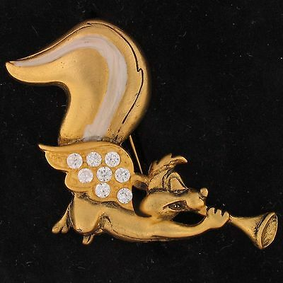 BROOCH PIN Pepe Le Pew WARNER BROS LOONEY TUNES .8 tcw CZ STONES WB STORE 4285