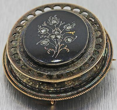1860s Civil War Antique Victorian Estate 14k Gold Diamond Mourning Brooch Pin