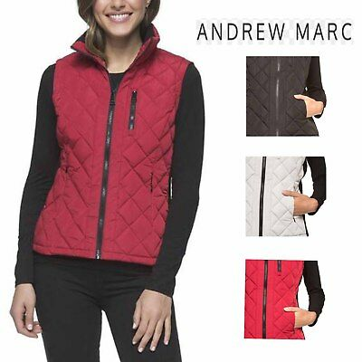 Andrew Marc Women's Quilted Vest with Ribbed Knit side Panels and Collar