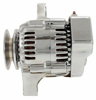 New 1 Wire Hookup 12 Volt CHROME Mini Alternator for Hot Rod Denso 70 Amp