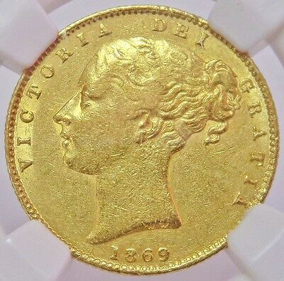 1869 Gold Great Britain Victoria Young Head Shield Sovereign Ngc About Unc 50