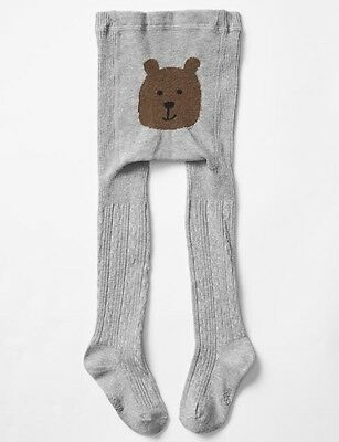 Baby Gap Girl Toddler Cable Knit Bear Tights Grey Heather Size 12-24 Months NWT