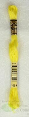 DMC Stranded Cotton Embroidery Floss, 8m Skein, Colour 3889 Medium Light Lemon