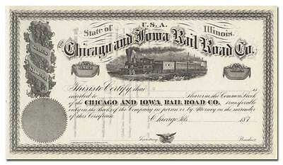 Chicago and Iowa Rail Road Co. Stock Certificate (1870's)