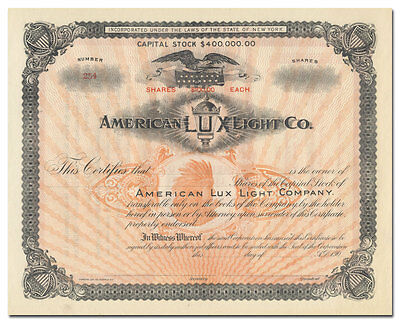 American Lux Light Company Stock Certificate (Railway Lanterns)
