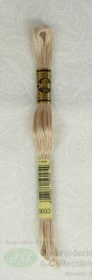 DMC Stranded Cotton Embroidery Floss, 8m Skein, Colour 3893 Light Mocha Beige