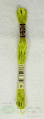 DMC Stranded Cotton Embroidery Floss, 8m Skein, Colour 3894 Light Parrot Green
