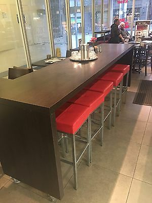 Cafe - Double Sided Bench + 14 Red Bar Stools Included.