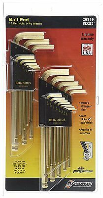 Allen Wrench Set Steel Ball End L Shape 2 Pack Gold Finish Hex Key Hand Tools