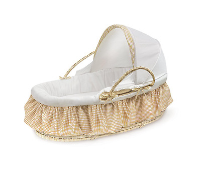 Badger Basket Natural Moses Basket With Fabric Canopy, Beige Gingham USA Baby