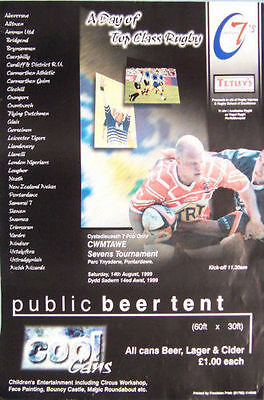 "CWMTAWE SEVENS 1999 WALES RUGBY POSTER -  size A2, 59.4cm x 42cm = 23.4"" x 16.5"""