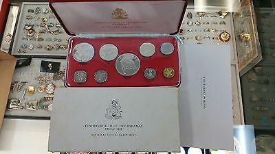 1975 Commonwealth of the Bahamas 9-Coin Proof Set Original With Box & Cert GEMS!