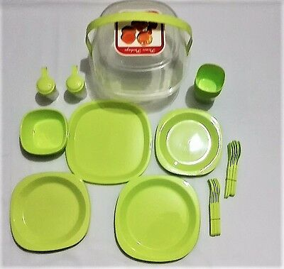 45 Piece Plastic Picnic Camping Party Dinner Plate Mug Cutlery Set Storage Box