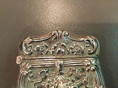 Repousse Sterling Silver Vesta Floral Swirl & 🎀 Ribbon Decoration match safe