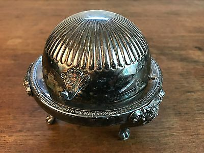 Vtg F.B Rogers Silver Co 273 Footed Round Bowl Roll Top Domed Butter Dish