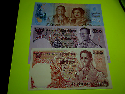 Lot of 3 Thailand Banknotes (UNC)