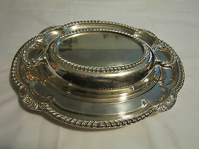antique decorative french silver plate bowl dish tray with top  silver on copper