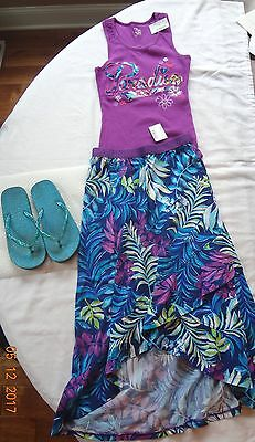 NWT Girls Childrens Place Summer Beach Outfit/Long Skirt/Tank/ Size 7-8/Tropical