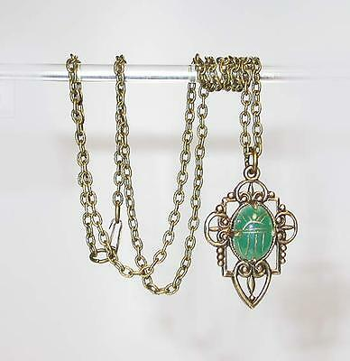 ~Vintage Art Deco Egyptian Revival Carved Jade Scarab Pendant Necklace!~~
