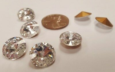 6 VINTAGE SWAROVSKI ARTICLE 1122 CRYSTAL 11mm. ROUND FACETED RIVOLI STONES  S830