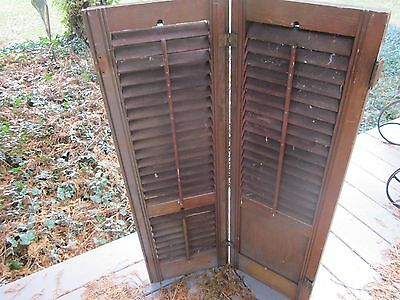 Antique wood shutters Louvers and solid panel. Rich brown color. Set # 2 Hinges