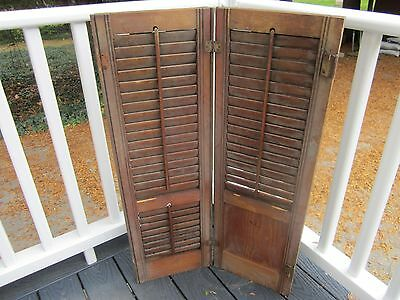 Antique wood shutters Louvers and solid panel. Rich brown color. Set # 1 Hinges
