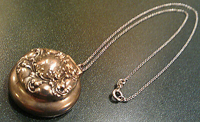 ANTIQUE VICTORIAN STERLING SILVER PENDANT NECKLACE PILL BOX Woodside Sterling Co