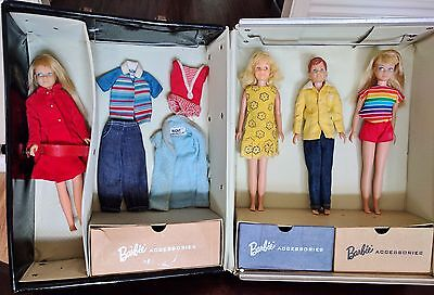 Vintage Barbie 60s Lot Skipper, Scooter, & Ricky! Dolls, Case, Tagged Clothes!
