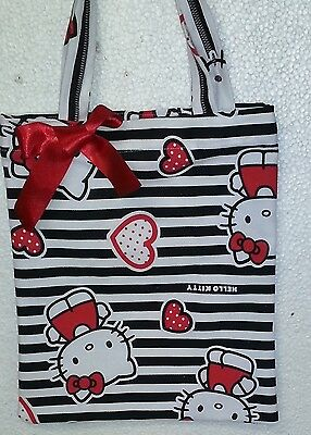 Hello Kitty Black and White Tote  Handmade by Bronwyn Children Shopping Gifting