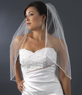 "1T Ivory Bridal Elbow Length 1/8"" Ribbon Edge Wedding Veil"