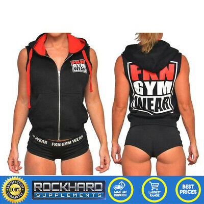 Fkn Women'S 'Shoulders Are Sexy' Sleeveless Hoodie Black - Girl Gym Wear A