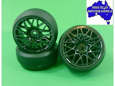 Wheels & drift tyres for 1:10 RC cars Black 10Y +3 offset may suit Tamiya WL-091